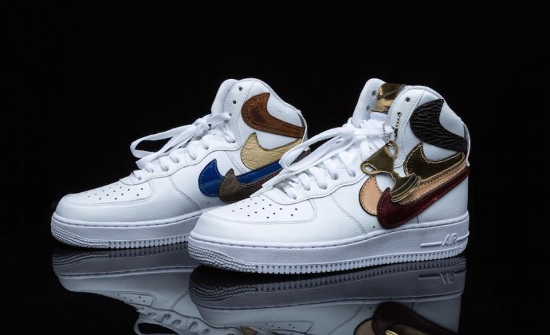 quality design beb14 07532 John Geiger Nike Air Force 1 High Misplaced Checks White